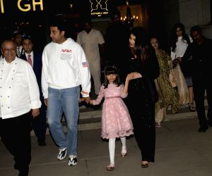 Actor Abhishek Bachchan with his wife Aishwarya Rai Bachchan and daughter Aaradhya Bachchan during a dinner hosted by him on his birthday in Mumbai, on Feb 5, 2019.