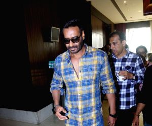 "Actor Ajay Devgan at the promotion of his upcoming film ""Raid"" in Mumbai on March 3, 2018."