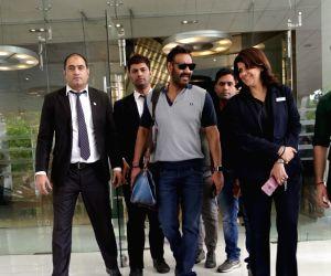 Ajay Devgn, Rakul Preet Singh seen at a hotel
