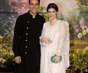 Actor Akshay Kumar and his wife Twinkle Khanna at the wedding reception of actress Sonam Kapoor and businessman Anand Ahuja in Mumbai on May 8, 2018.