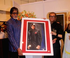 Dilip De's Art Exhibition - Amitabh, Jaya