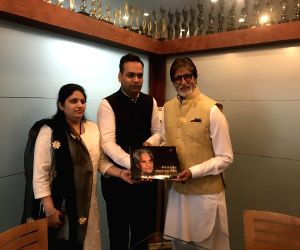 "Actor Amitabh Bachchan at the launch of Coffee Table Book ""Geeton Ke Darvesh : Gopal Das Neeraj"" at his residence in Mumbai on Feb 28, 2018."