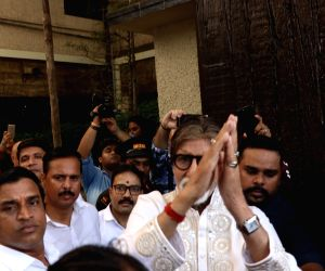 Amitabh Bachchan greets fans outside his residence on 77th birthday