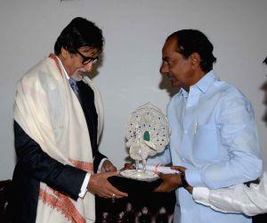 Amitabh Bachchan meeting Telangana Chief Minister K. Chandrashekar Rao