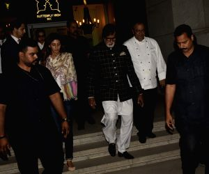 Actor Amitabh Bachchan with her daughter Shweta Bachchan Nanda during a dinner hosted by his son Abhishek Bachchan on his birthday in Mumbai, on Feb 5, 2019.