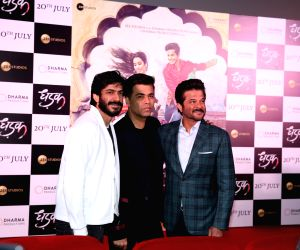 "Actor Anil Kapoor along with his son Harshvardhan Kapoor and producer Karan Johar at the trailer launch of upcoming film ""Dhadak""  in Mumbai on June 11, 2018."
