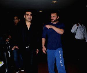 Arbaaz and Sohail Khan seen together at Mumbai airport