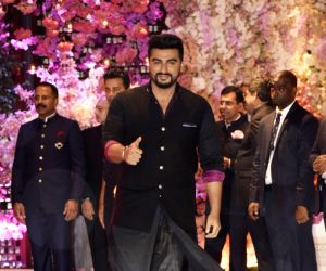 Actor Arjun Kapoor at the engagement party of Reliance Industries Chairman Mukesh Ambani's son Akash Ambani and diamantaire Russell Mehta's daughter Shloka Mehta, at Antilia in Mumbai on June ...
