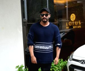 Actor Arjun Kapoor seen outside producer Anand Pandit's house, in Mumbai on June 16, 2019.