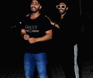 "Actor Arjun Kapoor with actor Ranveer Singh seen at the screening of his upcoming film ""India's Most Wanted"", in Mumbai, on May 23, 2019."