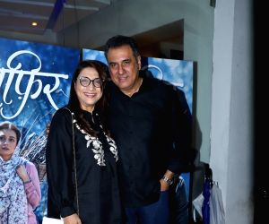 "Actor Boman Irani with his wife Zenobia Irani at the premiere of the upcoming web series ""Kaafir"" in Mumbai on June 14, 2019."