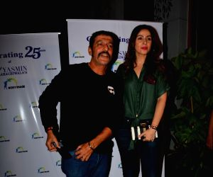 Chunky Pandey and Bhavna Pandey during a programme