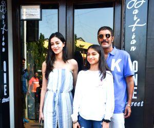 Chunky Pandey and Ananya Pandey seen at Mumbai's Bandra
