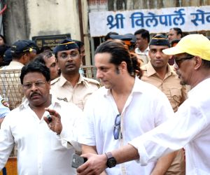 Actor Fardeen Khan arrives to attend the funeral of late actress Sridevi in Mumbai on Feb 28, 2018. Veteran actress Sridevi passed away following accidental drowning in a bathtub in her hotel ...