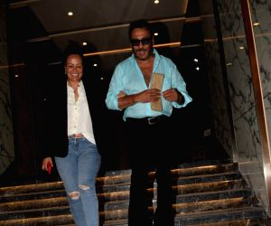 Actor Jackie Shroff along with his wife Ayesha Shroff at actress Poonam Dhillon's birthday celebration in Mumbai on April 17, 2018.