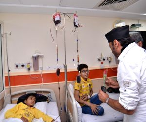 Actor Jackie Shroff visits children suffering from thalassemia at Sir Ganga Ram Hospital in New Delhi on May 9, 2018.