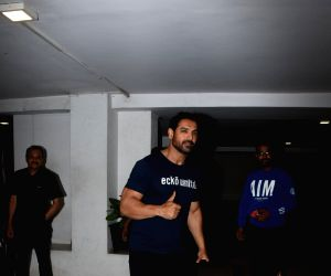 Actor John Abraham seen outside filmmaker Karan Johar's house in Mumbai, on May 16, 2019.
