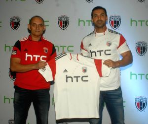 John Abraham during the unveiled team jersey of the NorthEast United Football Club