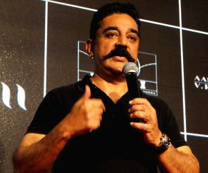 "Kamal Haasan at the trailer launch of his film ""Vishwaroop 2"