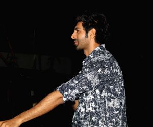 Kartik Aaryan seen at a Sun N Sand in Juhu