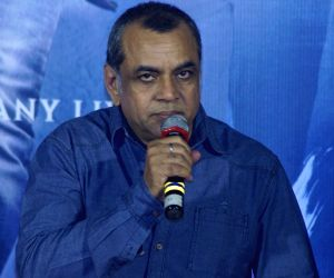 """Actor Paresh Rawal addresses at the trailer launch of their upcoming film """"Sanju"""", in Mumbai on May 30, 2018."""