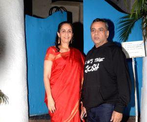 """Actor Paresh Rawal with his wife Swarup Sampat at a party organised to celebrate the success of his film """"Uri: The Surgical"""" in Mumbai, on Jan 16, 2019."""