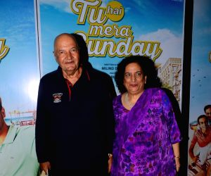 Promotions of the film 'Tu Hai Mera Sunday' - Prem Chopra, Uma Chopra