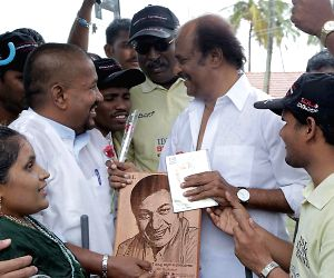 Rajnikant interacts with visually-challenged people