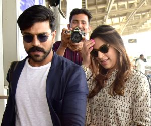 Actor Ram Charan with wife Upasana at Jaipur International Airport on March 24, 2019.