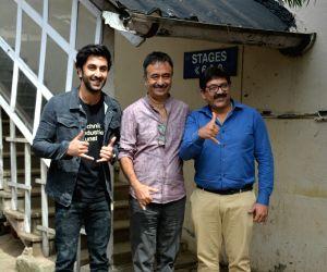 Ranbir Kapoor and Rajkumar Hirani seen at a studio