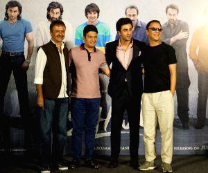 "Teaser launch of Sanjay Dutt's biopic ""Sanju"" - Ranbir Kapoor, Bhushan Kumar, Vidhu Vinod Chopra and Rajkumar Hirani"