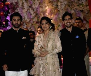 Actor Ranbir Kapoor with his mother Neetu Kapoor and filmmaker Ayan Mukerji at the engagement party of Reliance Industries Chairman Mukesh Ambani's son Akash Ambani and diamantaire Russell ...