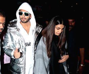 Ranveer Singh and Ritika Bhavnani seen at airport