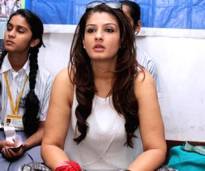 Raveena celebrates Earth Hour with students