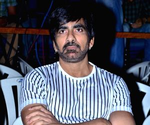 "Actor Ravi Teja during the trailer launch of his upcoming film ""Raja The Great"" in Hyderabad."