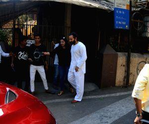 Saif Ali Khan seen at a dubbing studio