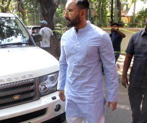 Actor Saif Ali Khan seen outside actor Ajay Devgn's house, in Mumbai, on May 29, 2019.