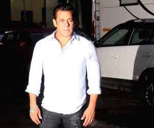 """Actor Salman Khan at the screening of his upcoming film """"Bharat"""", in Mumbai on June 12, 2019."""