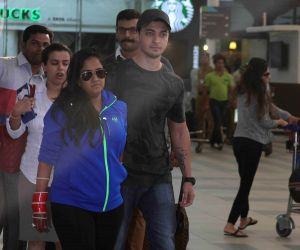 Arpita Khan and Aayush Sharma arrive after their wedding ceremony