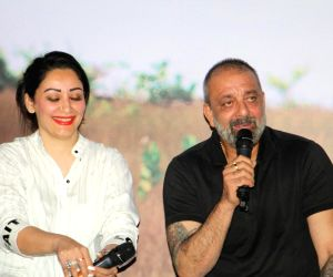 "Actor Sanjay Dutt along with his wife Manyata Dutt at the trailer launch of Marathi Film ""Baba"" in Mumbai on July 16, 2019."