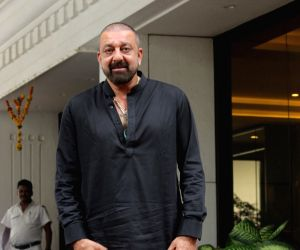 Actor Sanjay Dutt seen at film producer Anand Pandit's residence in Mumbai on June 13, 2019.