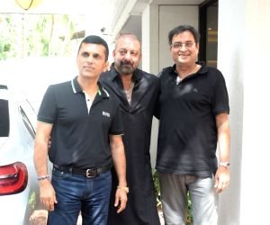 Actor Sanjay Dutt with producer Anand Pandit at his residence at Juhu, Mumbai on June 15, 2019.