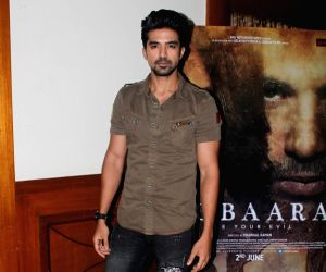 "Saqib Saleem and Huma Qureshi during an interview for film ""Dobaara"