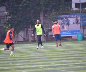 Celebs at a football match at Juhu