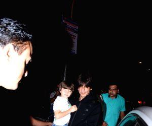 Actor Shah Rukh Khan and his son AbRam Khan seen at Bandra in Mumbai, on July 16, 2019.