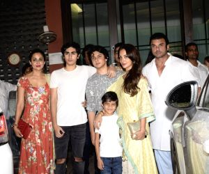 Actor Sohail Khan with his wife Seema Sachdev Khan and actress Amrita Arora at the Eid party organised by actor Salman Khan's sister Arpita Khan, in Mumbai on June 16, 2018.