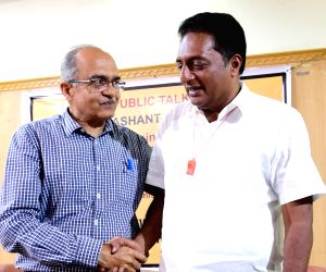 Actor-turned-politician Prakash Raj and eminent lawyer Prashant Bhushan during a programme at Press Club in Bengaluru on March 30, 2019.