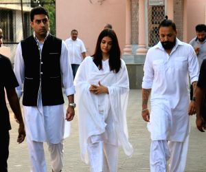 Actors Abhishek Bachchan and Aishwarya Rai Bachchan arrive at the funeral of Amitabh Bachchan's longtime secretary and film producer Sheetal Jain who passed away at 77, in Mumbai on June 8, ...