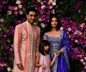 Actors Abhishek Bachchan and Aishwarya Rai with their daughter Aaradhya Bachchan at the wedding festivities of Akash Ambani and Shloka Mehta in Mumbai on March 9, 2019.