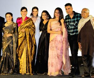 "Actors Akshay Kumar, Taapsee Pannu, Sonakshi Sinha, Kirti Kulhari, Vidya Balan, Nithya Menon and Sharman Joshi at the trailer launch of their upcoming film ""Mission Mangal"" in ..."